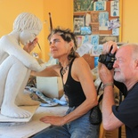 Marius Weyuers and his wife, sculptor Evette